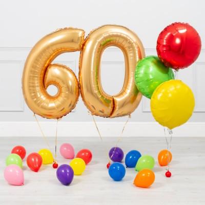 Шары 60 лет Золото Яркий
