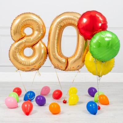 Шарики золотые цифры 80 лет Яркий