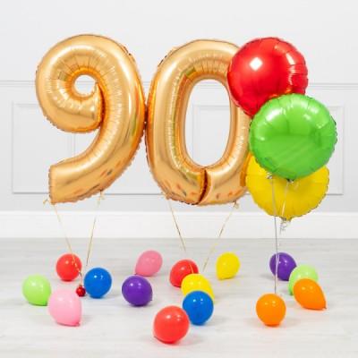 Фольгированные золотые цифры 90 лет Яркий