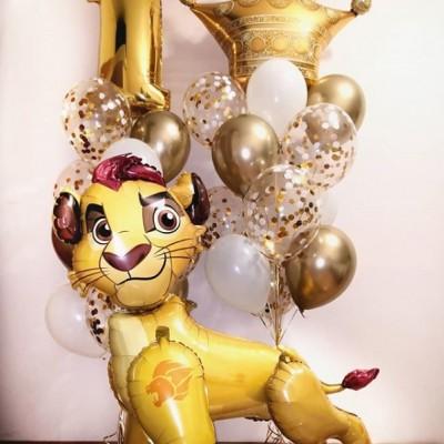 Композиции шаров на годик Король Лев