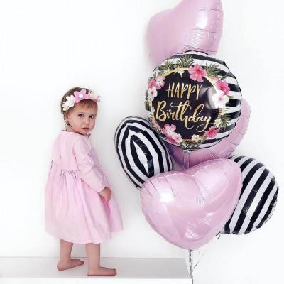 Букет из шариков С днем рождения Полоски