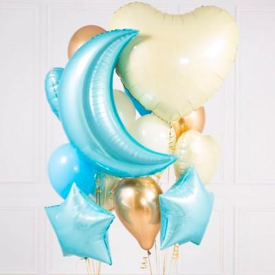 Шар месяц голубой и шары на выписку