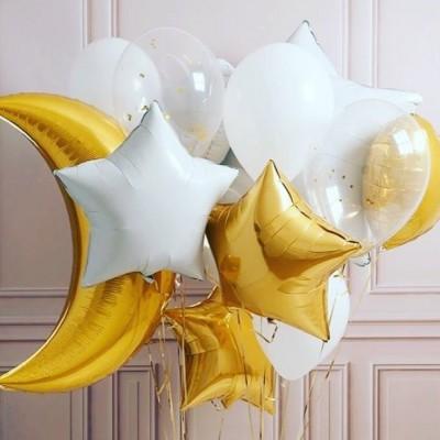 Шар месяц золотой и воздушные шары звезды