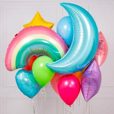 Фольгированный шар Радуга и букет из шаров