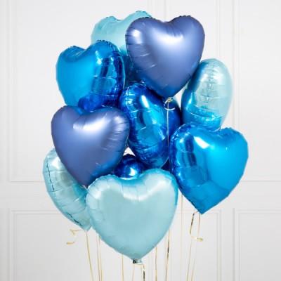 Фольгированные сердца Синие и Голубые Павлин