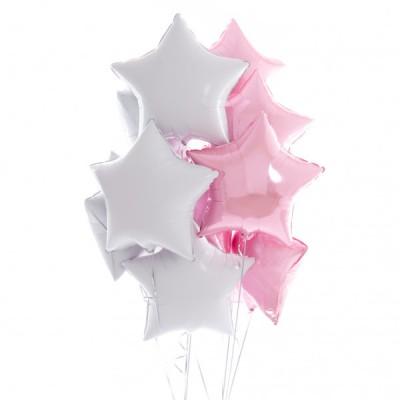 Фольгированные звезды белые и розовые