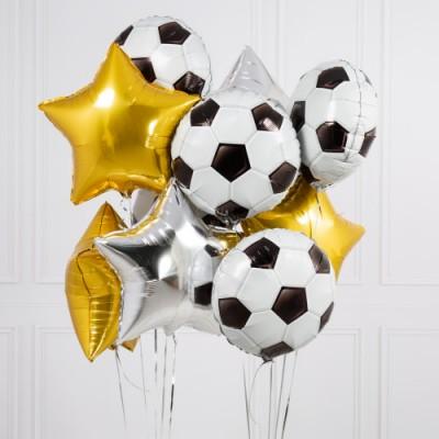 Шар фольга Футбольный мяч и шары звезды золотые
