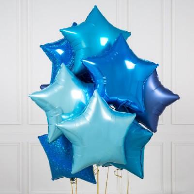 Фольгированные звезды Синие и Голубые Павлин