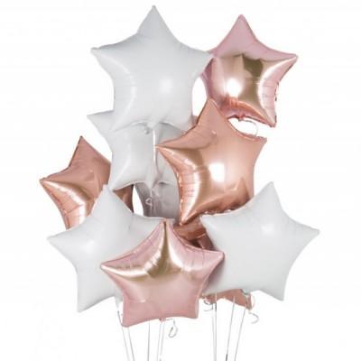 Фольгированные звезды Белые и Розовое золото