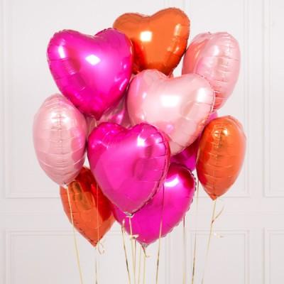 Шарики в виде сердечка цвета Фламинго