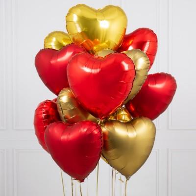 Воздушные шары в форме сердца Золото Красные