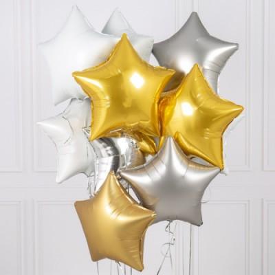 Фольгированные звезды Золото Серебро Белый