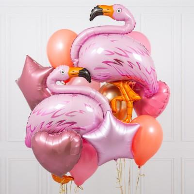 Фламинго шары в композиции из воздушных шаров