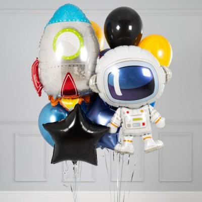 Композиция шары Космос и фольгированный шар Ракета