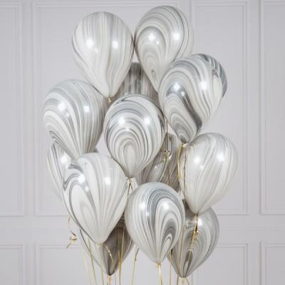 Воздушные шары Агаты Серые Монохром