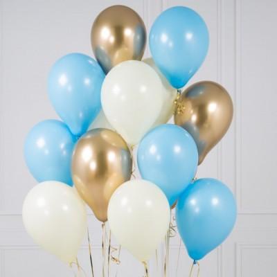 Связка шаров с золотыми шарами Baby Blue