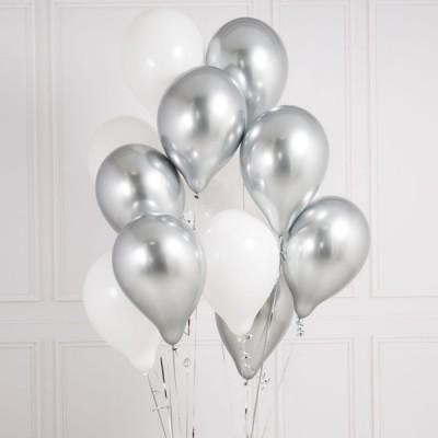Связка шаров Белые и серебро