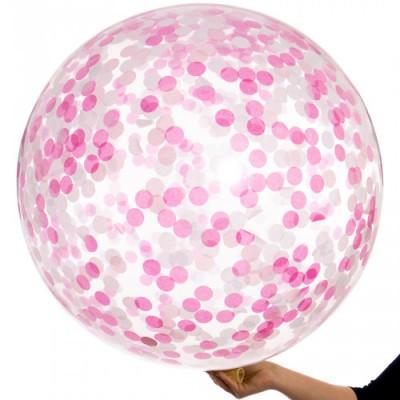 Большой шар с Конфетти Розовым