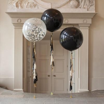 Большие шары с гелием черные и конфетти с гирляндами тассел