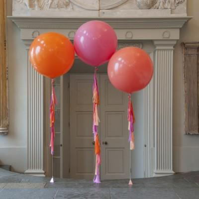 Большие латексные шары Фламинго с гирляндами тассел