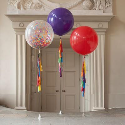 Большие воздушные шары Праздник с конфетти и гирляндами тассел