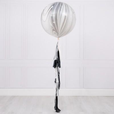 Большой воздушный шарик агат Монохром с гирляндой тассел