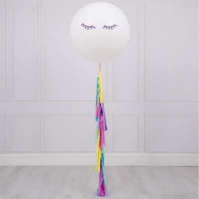 Большой надувной шарик Единорог с гирляндой тассел