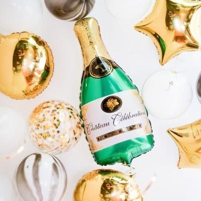 Шар шампанское и золотые гелиевые шары