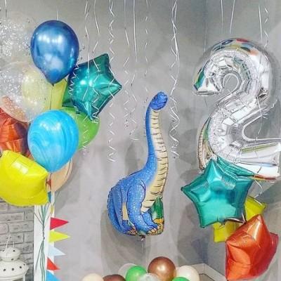 Композиции из шаров на день рождения 2 года Динозавр