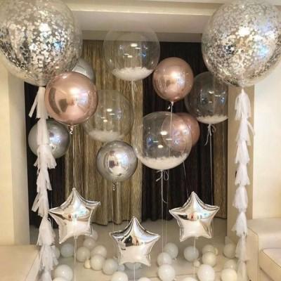 Большие прозрачные шары в композиции из шаров Воздушная фантазия