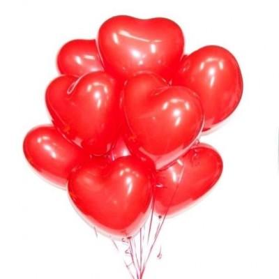 Шары сердца латексные Красные