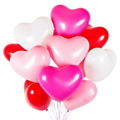 Шарики сердечки Бело-Розово-Красные