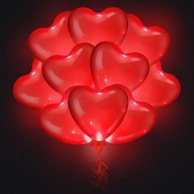 Светящиеся воздушные шары Сердца Красные