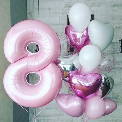 Шар Цифра 8 розовая пастель
