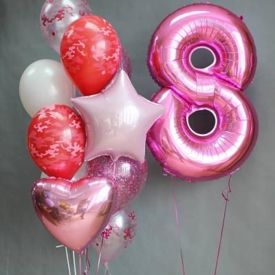 Цифра 8 фольгированная розовая Милитари