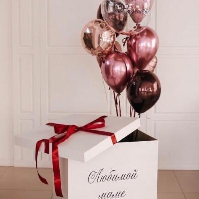 Коробка с воздушными шарами Любимой маме