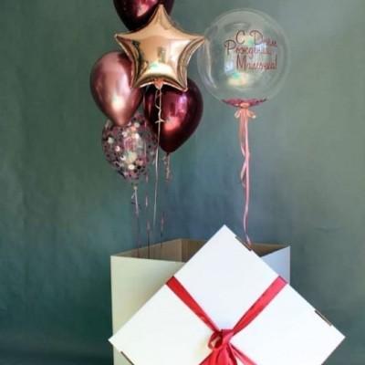 Шарики в коробке на день рождения Звезда