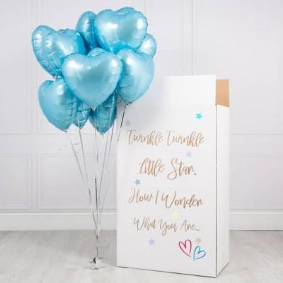 Коробка с шариками сюрприз Голубые Сердца