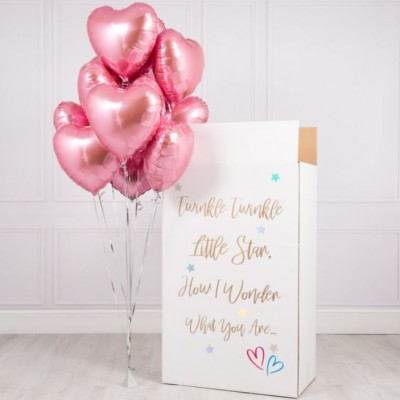 Большая коробка с шарами Розовые Сердца