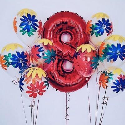 Фольгированный шар Цифра 8 красная Ромашки