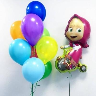Воздушные шары Маша и Медведь - Маша на велосипеде