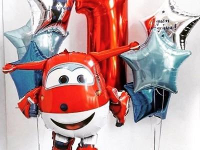 Композиция из шариков на 1 годик Самолет Джетт
