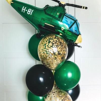 Шарик Вертолет милитари и фонтан из шаров