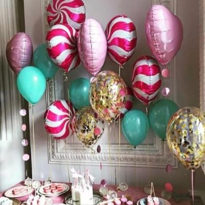 Шар сердце фольга и шары леденцы в композиции из шаров