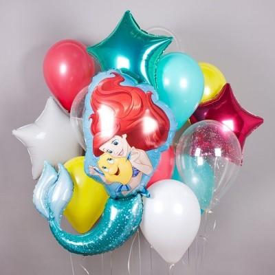 Фольгированный шар Русалочка Ариэль и набор из шаров