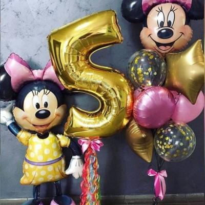 Минни Маус шар и цифра 5 в композиции из шаров