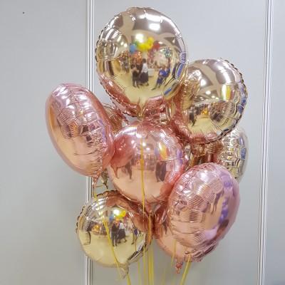 Фольгированные шары круги Розовый закат