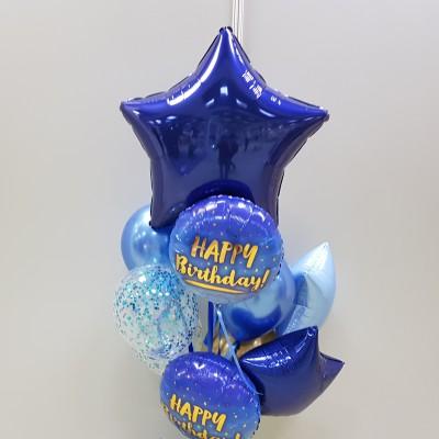 Шарики из фольги С Днем Рождения Синяя Звезда