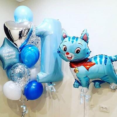 Воздушные шары на годик Кошка Голубая