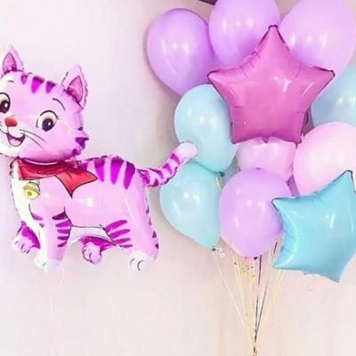 Фольгированный шар Кошка розовая и букет из шаров